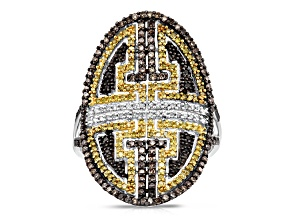 Sterling Silver 1.00ctw Black, Yellow And Brown Diamond Fashion Ring