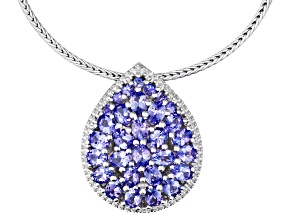 4.12ctw Oval And Round Tanzanite Sterling Silver Pendant With 18