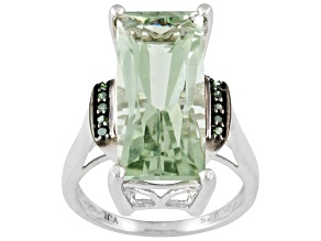 5.60ct Rectangle Green Amethyst Sterling Silver Ring 5.60ctw