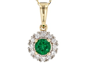 Green Apatite 10k Yellow Gold Pendant With Chain .76ctw