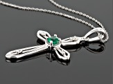Green Apatite 10k White Gold Cross Pendant With Chain .28ctw