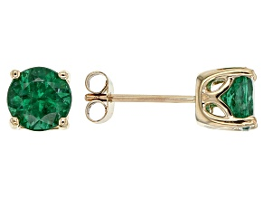 Green Apatite 10k Yellow Gold Stud Earrings 1.60ctw