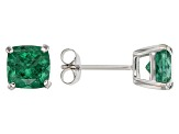 Green Apatite 10k White Gold Stud Earrings 2.10ctw