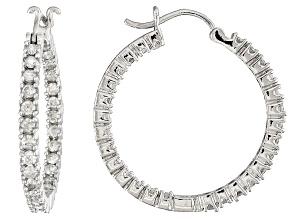 White Diamond inside Out Hoop Earrings 10k White Gold 2.00ctw