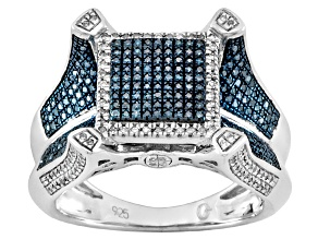 Blue And White Diamond Silver Ring .50ctw