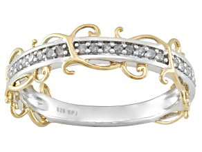 White Diamond Sterling Silver And 14k Yellow Gold Vine Ring .16ctw