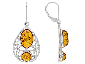 Orange Amber Rhodium Over Sterling Silver Dangle Earring 12x8mm
