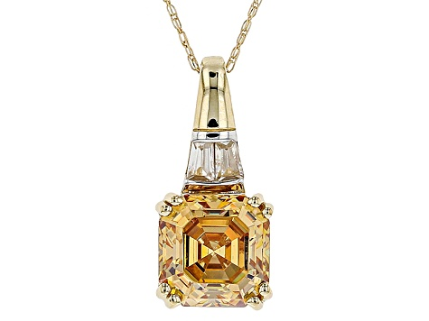 Champagne Fabulite Strontium Tiitanate and White Zircon 10k Gold Pendant With Chain 3.66ctw
