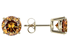 Champagne Fabulite Strontium Titanate 10k Yellow Gold Stud Earrings 5.20ctw