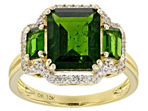 Green Chrome Diopside 10k Yellow Gold Ring 3.80ctw