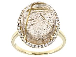 Golden Rutilated Quartz 10k Yellow Gold Ring 9.25ctw