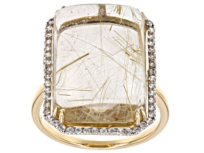 Colorless Golden Rutilated Quartz 10k Yellow Gold Ring 16.55ctw