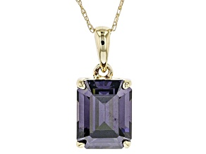 Purple Strontium Titatante 10k Yellow Gold Pendant With Chain 3.10ct