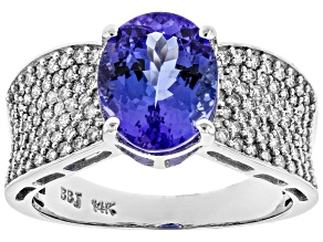 Blue Tanzanite Rhodium Over 14k White Gold Ring 3.70ctw
