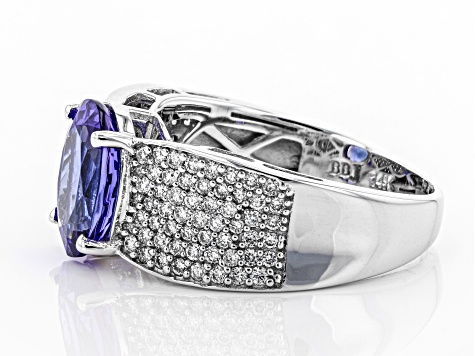 Blue Tanzanite Rhodium Over 14k White Gold Ring 3.65ctw
