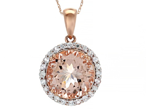 Pink Morganite 10k Rose Gold Pendant With Chain 4.92ctw