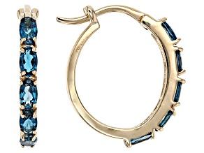London Blue Topaz 10k Yellow Gold Earrings 2.60ctw