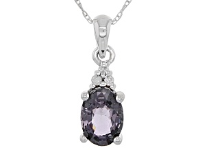 Grey Platinum Color Spinel 10k White Gold Pendant With Chain .71ctw