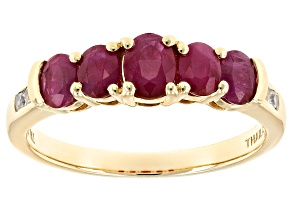 Red Burmese Ruby 14k Yellow Gold Ring 1.21ctw