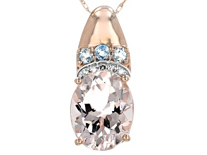 Pink Morganite 10k Rose Gold Pendant With Chain 2.30ctw