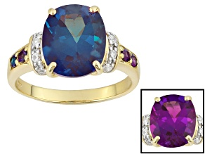 Color Change Lab Created Alexandrite 10k Yellow Gold Ring 4.16ctw