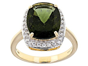 Green Moldavite 10k Yellow Gold Ring 3.48ctw