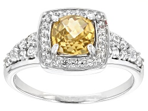 Yellow Zircon Rhodium Over 10k White Gold Ring 1.41ctw