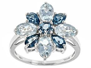 Blue Aquamarine 10k White Gold Ring 2.40ctw