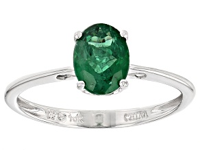 Green Apatite 10k White Gold Ring 1.03ct