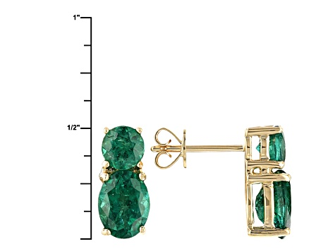 Green Apatite 10k Yellow Gold Earrings 3.31ctw