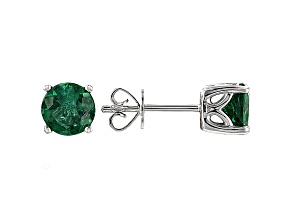 Green Apatite Solitaire 10k White Gold Earrings 1.54ctw