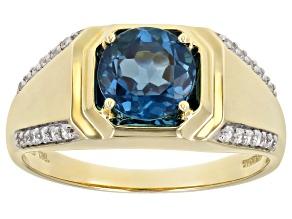 London Blue Topaz 10k Yellow Gold Gent's Ring 2.26ctw
