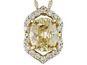 Yellow Zircon 10k Yellow Gold Pendant With Chain 1.51ctw