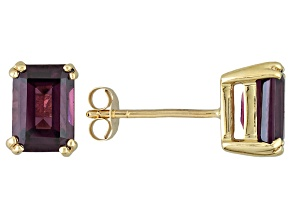 Grape Color Garnet Solitaire 10k Yellow Gold Stud Earrings 2.04ctw