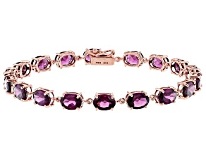 Grape Color Garnet 10k Rose Gold Bracelet 14.15ctw