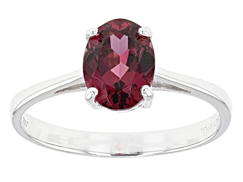 Grape Color Garnet 10k White Gold Ring 1.28ct