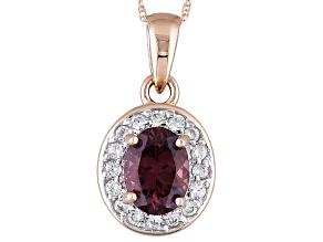 Purple Garnet 10k Rose Gold Pendant With Chain 1.28ctw