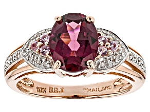 Grape Color Garnet 10k Rose Gold Ring 2.07ctw