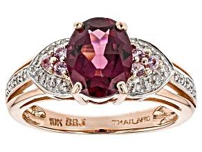Purple Garnet 10k Rose Gold Ring 2.07ctw
