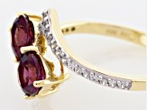 Grape Color Garnet 10k Yellow Gold Ring 1.43ctw