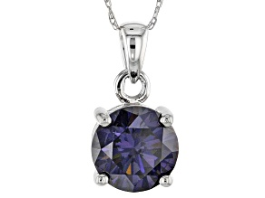 Purple Fabulite Strontium Titanate 10k White Gold Pendant With Chain 2.50ct