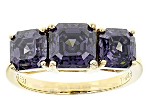 Purple Fabulite Strontium Titanate 10k Yellow Gold Ring 5.13ctw