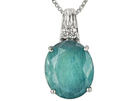 Green Grandidierite Sterling Silver Pendant With Chain 5.14ctw