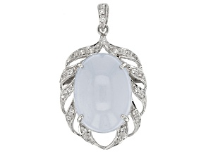 Blue Turkish Chalcedony Sterling Silver Pendant With Chain .23ctw