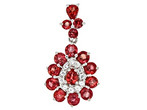 Red Winza Sapphire Sterling Silver Pendant 3.40ctw