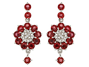 Red Winza Sapphire Sterling Silver Earrings 4.95ctw