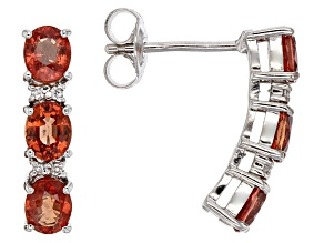 Red Sapphire Sterling Silver Earrings 2.99ctw