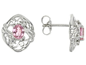 Pink Ceylon Sapphire Sterling Silver Earrings .86ctw