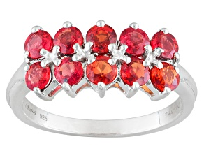 Red Sapphire Sterling Silver Ring 1.76ctw