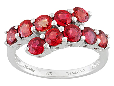 Red Sapphire Sterling Silver Ring 2.50ctw